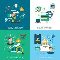 Conjunto de ícones de marketing bancário vetor