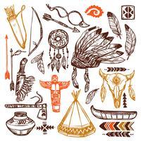 Conjunto de nativos americanos vetor