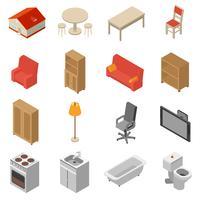 Conjunto de ícones isométrica interior