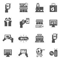 Conjunto de ícones de silhueta de compras Internet