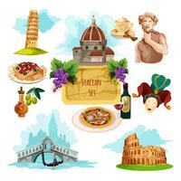 Conjunto Turístico Itália vetor
