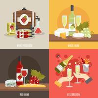 Conjunto de vinho liso vetor