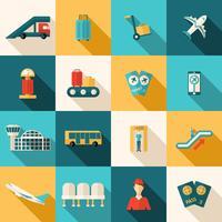 Conjunto de ícones de aeroporto plana