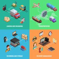 Entrega e logística isométrica quadrado ícone conjunto vetor