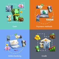 Conjunto de ícones de bancos e pagamento