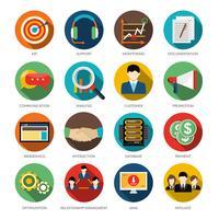 Conjunto de ícones redondos de CRM