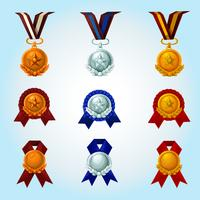 Conjunto de desenhos animados de medalhas vetor