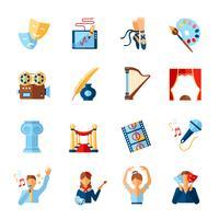 Conjunto de ícones de arte e cultura vetor