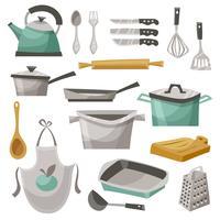 Conjunto de ícones de coisas de cozinha vetor
