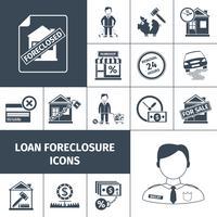 Ícones de encerramento de empréstimo preto