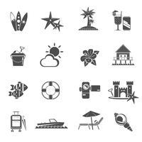 Conjunto de ícones pretos de praia vetor