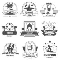 Conjunto de etiquetas de praia vetor