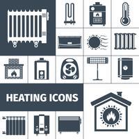 Conjunto de ícones plana de aquecimento vetor
