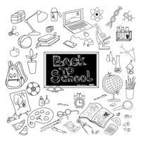 De volta à escola doodle cartaz preto