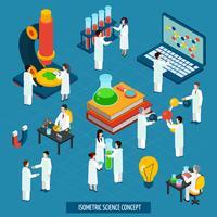 Banner de composição isométrica do conceito de laboratório de ciência