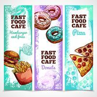 Banners de fast food verticais vetor