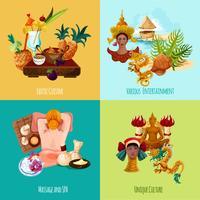 Conjunto turístico de Tailândia vetor