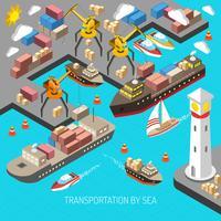 Transporte pelo conceito do mar vetor