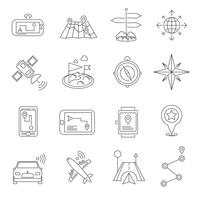 Conjunto de ícones de contorno de localização