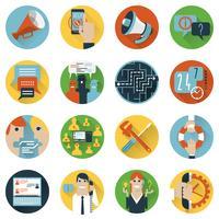 Ícones do conceito de fóruns da Internet definida plana