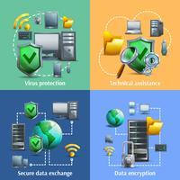 Conjunto de ícones de criptografia e segurança de dados vetor