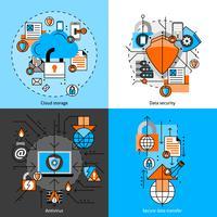 Conjunto de ícones de segurança e armazenamento de dados vetor