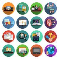 Coleção de ícones plana redonda freelance