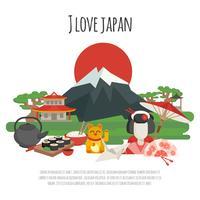 Cartaz dos símbolos da tradição japonesa vetor