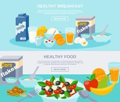 Conjunto de Banner plana de comida saudável vetor