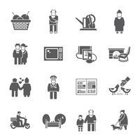 Conjunto de ícones de vida pensionistas vetor