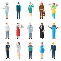 Conjunto de ícones de avatar de profissão vetor