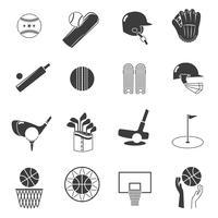 Conjunto de ícones do esporte preto vetor