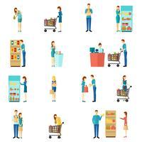 Conjunto de ícones plana de compradores vetor