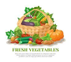 Ainda vida de cesta de legumes vetor