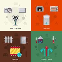 Conjunto de ícones de ventilação e convecção de aquecimento