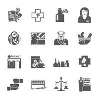 Conjunto de ícones pretos de farmácia vetor