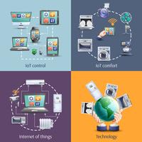 Internet das coisas 4 ícones planas