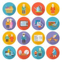 Pensionistas vida ícones plana vetor