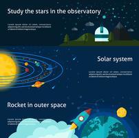 Conjunto de banner de espaço e universo