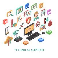 Conceito de suporte técnico vetor