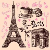 Conjunto de símbolos de mão desenhada de Paris