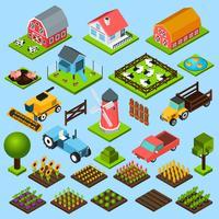 Conjunto de ícones isométrica de fazenda vetor