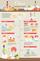 Conjunto de infográfico plana de queijo vetor