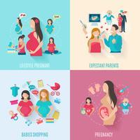 Ícones planas de gravidez