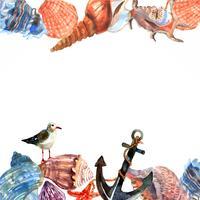 Quadro de borda de âncora de concha marinha vetor