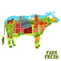 Conceito de vaca de fazenda