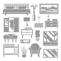 Mobília do quarto cinza set vetor