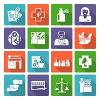 Conjunto de ícones de farmacêutico vetor
