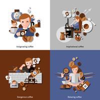 Café e Relax Icons Set vetor