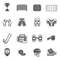 Conjunto de ícones de hóquei no gelo